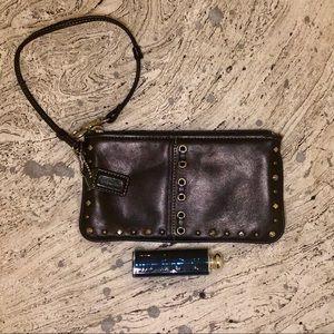 Authentic Black Leather Coach Wristlet